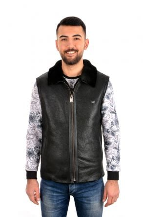 Pegia Men Vest From Genuine Leather With Neck-Piece Black
