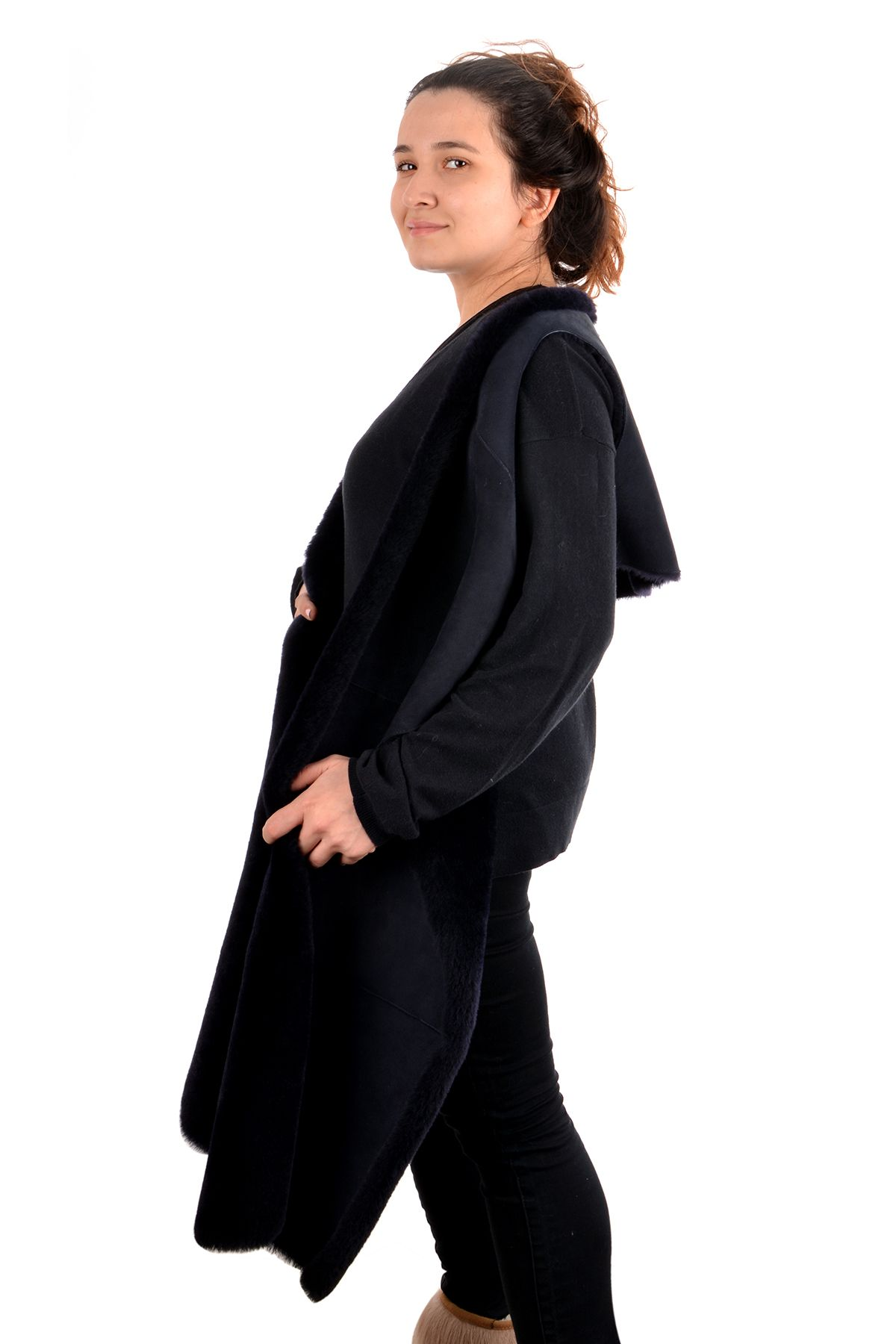 Pegia Hakiki Kürklü Bayan Şal Yelek 17CB04 Lacivert