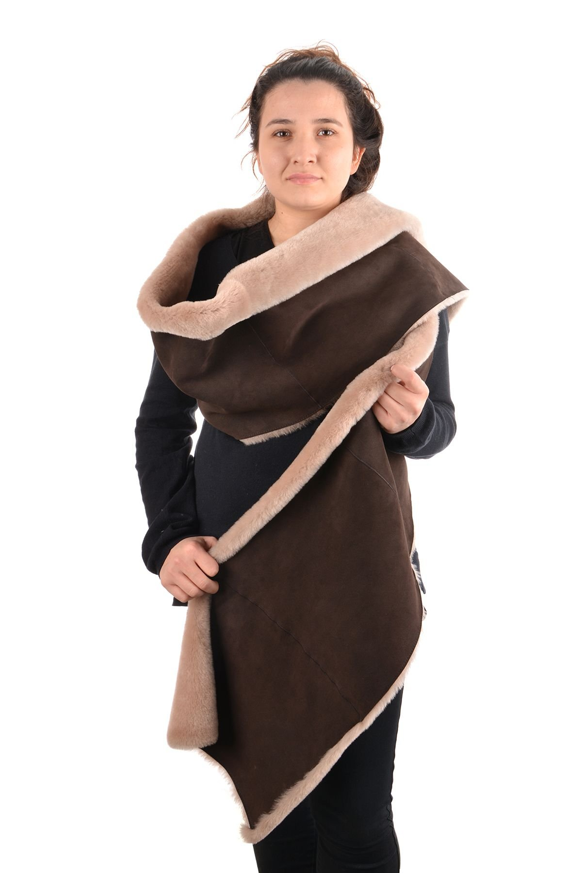 Pegia Women Vest-Shawl From Genuine Fur Brown