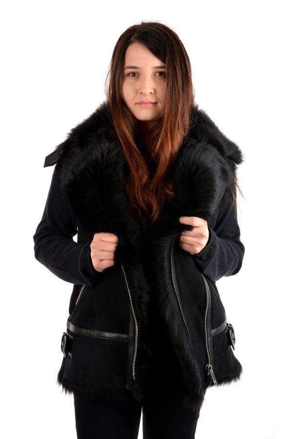 Pegia Women Vest From Genuine Toscana Fur Black