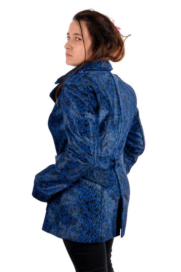 Pegia Women Leather Jacket Blue