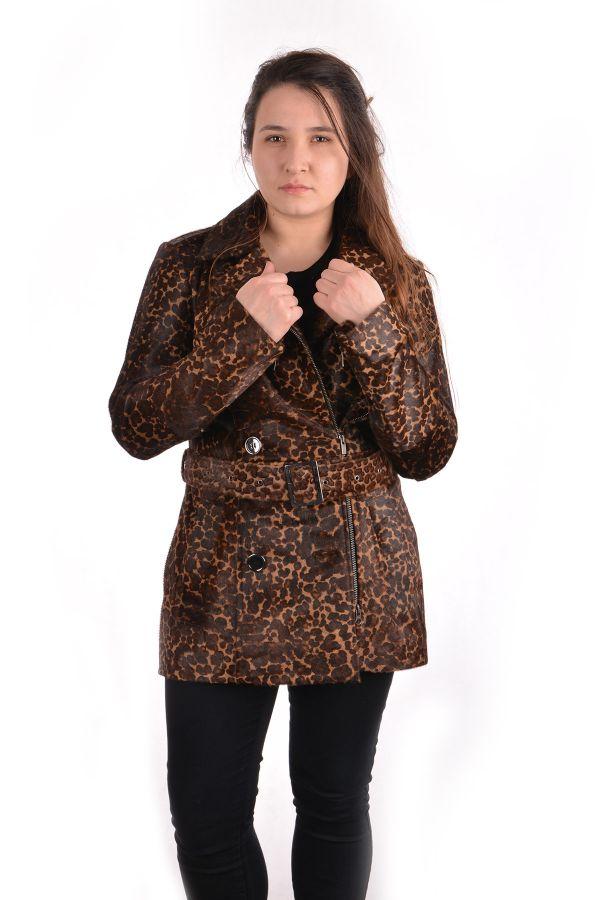 Pegia Women Leather Jacket Brown
