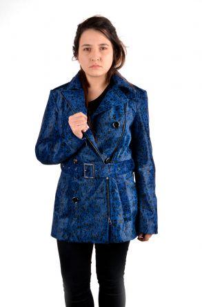 Pegia Женская Куртка Из Натуральной Кожи Синий
