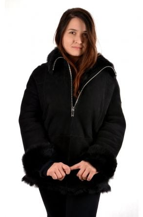 Pegia Women Fur Jacket Black