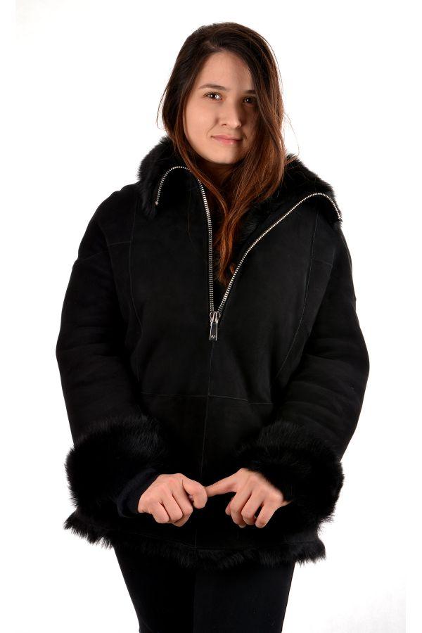 Pegia Women Fur Jacket Black