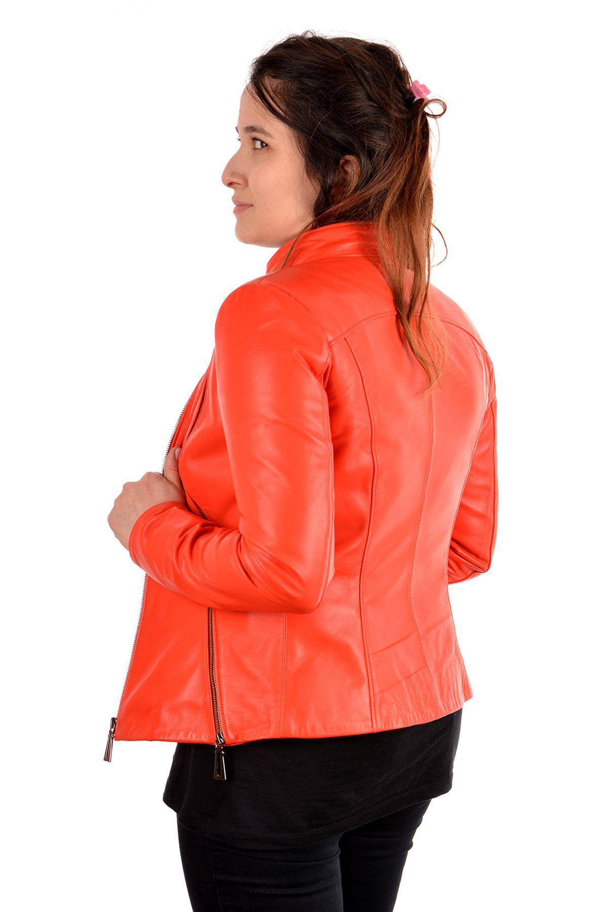 Pegia Женская Куртка Из Натуральной Кожи С Молнией Оранжевый