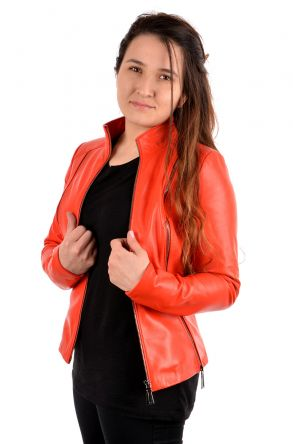 Pegia Zipped Women Leather Jacket Orange