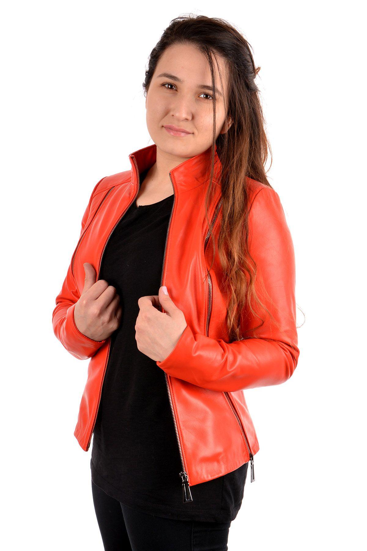Pegia Zipped Women Leather Jacket Orange