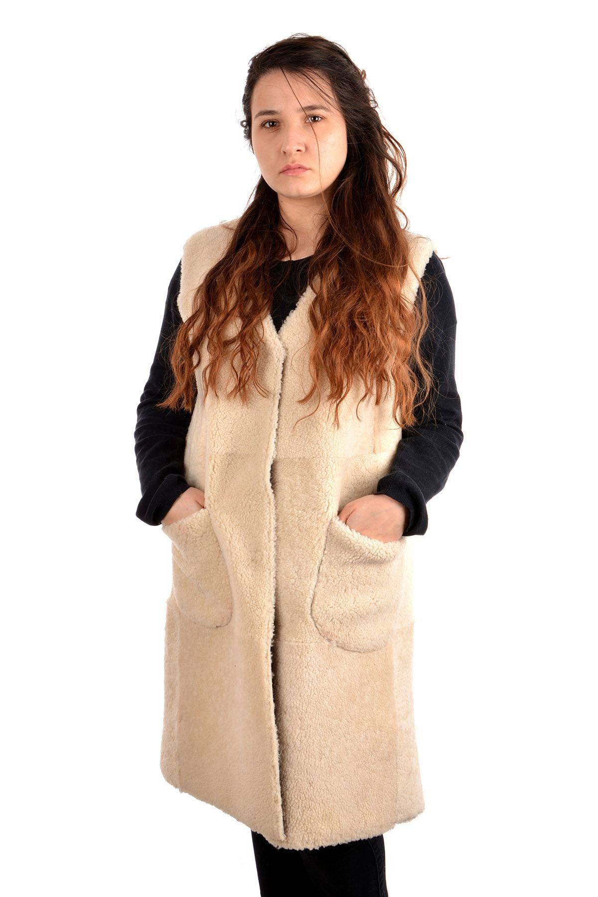 Pegia Women Vest From Genuine Leather And Fur Brown
