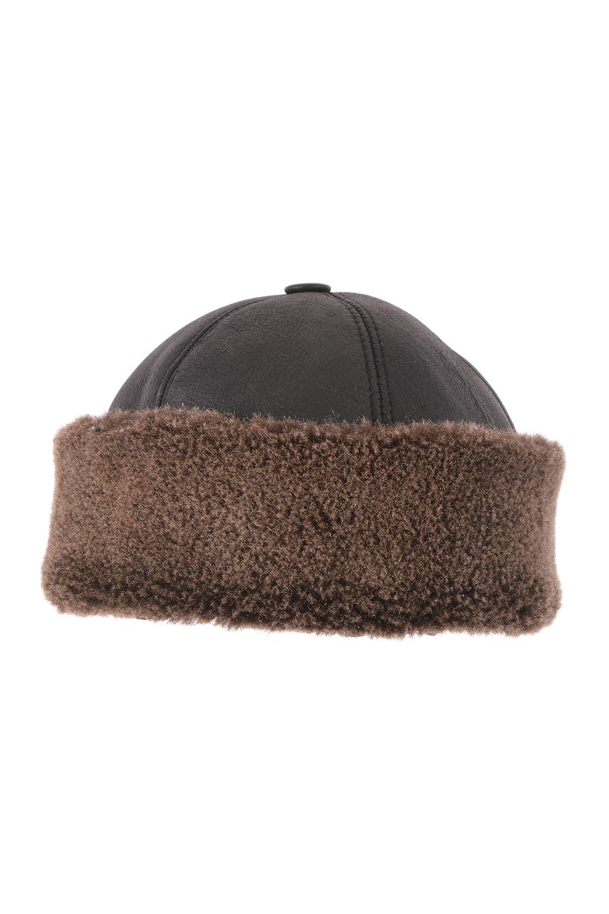 Pegia Hakiki Deri Kürklü Diriliş Şapka Kahve