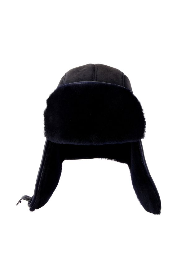 Pegia Hakiki Süet İçi Kürk Kulaklıklı Şapka  Lacivert