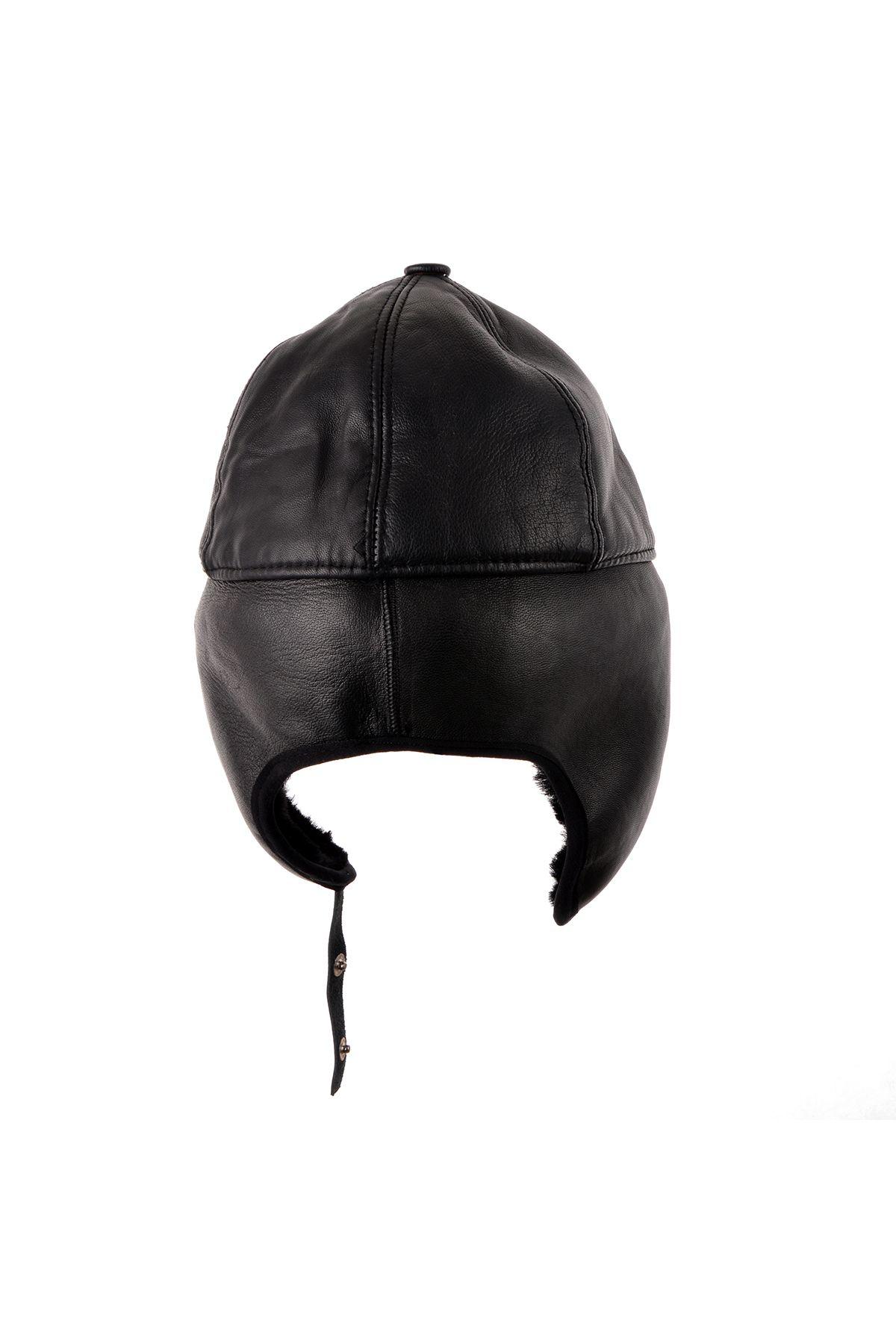 Pegia Пилотная Шапка-Ушанка Из Натуральной Кожи И Меха  Черный