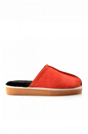 Pegia Women House-shoes From Genuine Suede & Fur Orange
