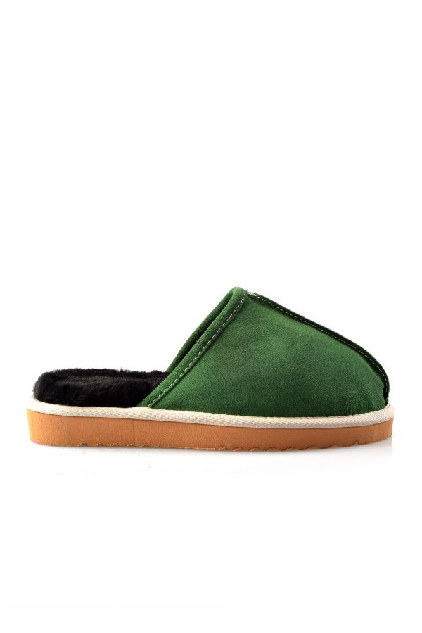 Pegia Women House-shoes From Genuine Suede & Fur Bright Green