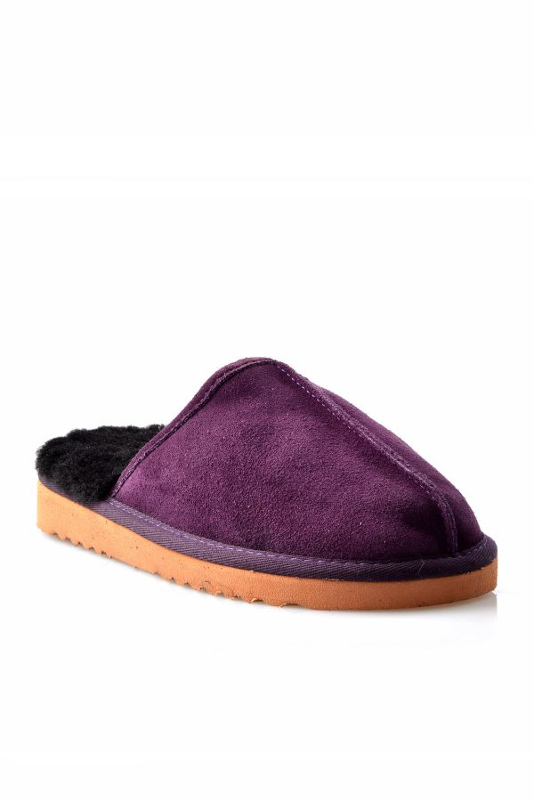 Pegia Women House-shoes From Genuine Suede & Fur Purple