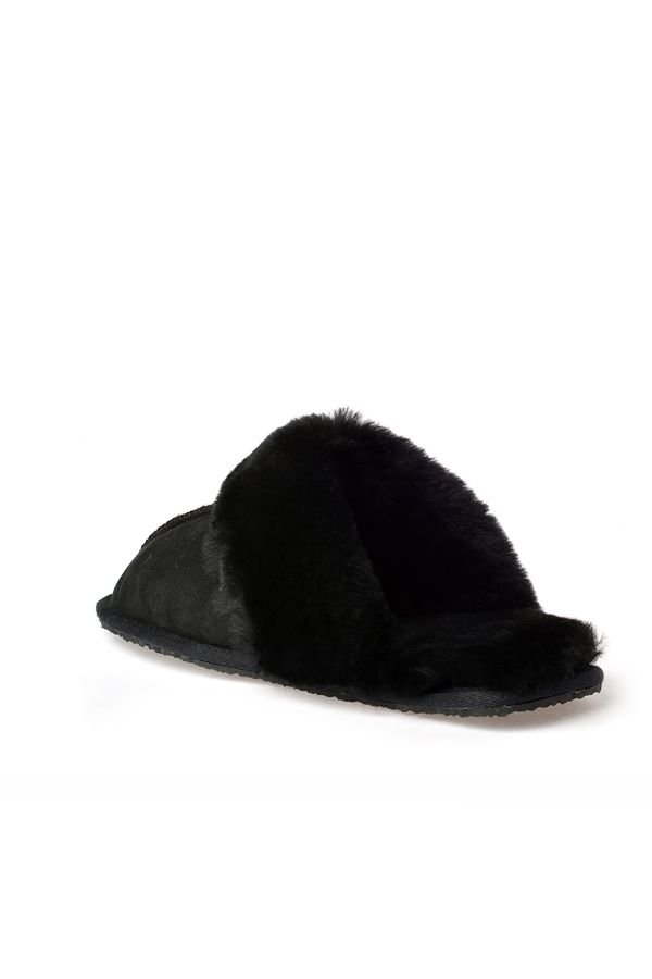 Pegia Unisex House-shoes From Genuine Suede & Fur Black