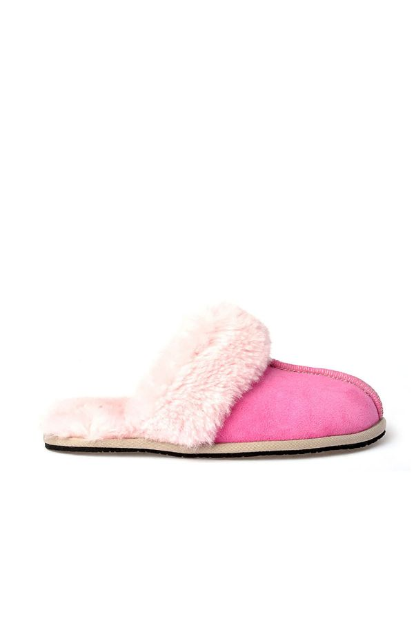 Pegia Unisex House-shoes From Genuine Suede & Fur Pink