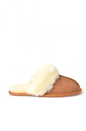 Pegia Unisex House-shoes From Genuine Suede & Fur Ginger