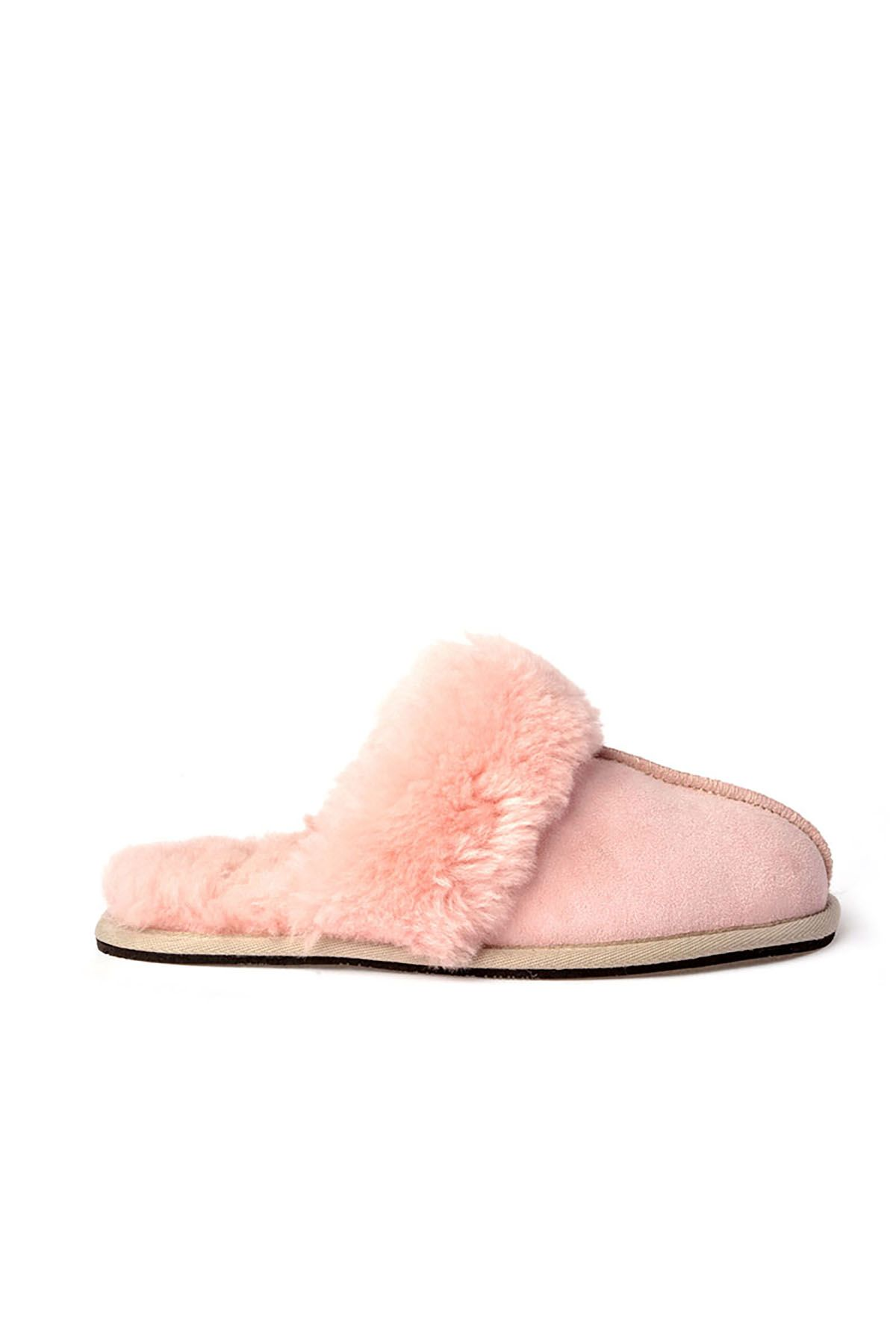 Pegia Unisex House-shoes From Genuine Suede & Fur Bright Pink