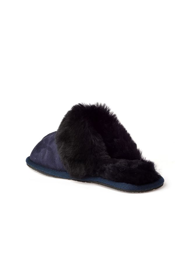 Pegia Unisex House-shoes From Genuine Suede & Fur Navy blue