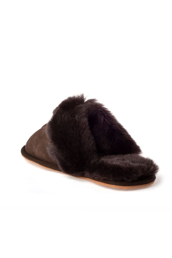 Pegia Unisex House-shoes From Genuine Suede & Fur Brown