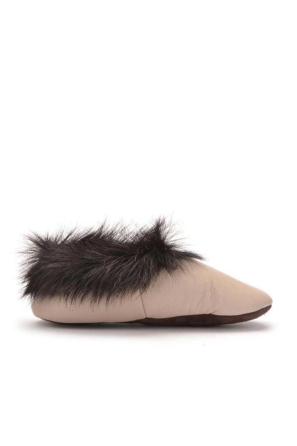 Pegia Детская Домашняя Обувь Из Натуральной Кожи И Меха С Меховой Верхушкой Бежевый
