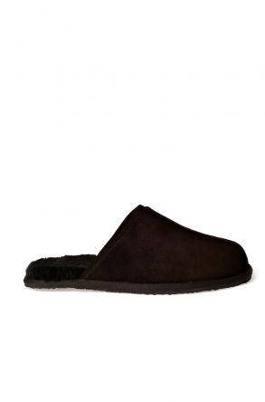 Pegia Men House Slippers From Genuine Fur Black