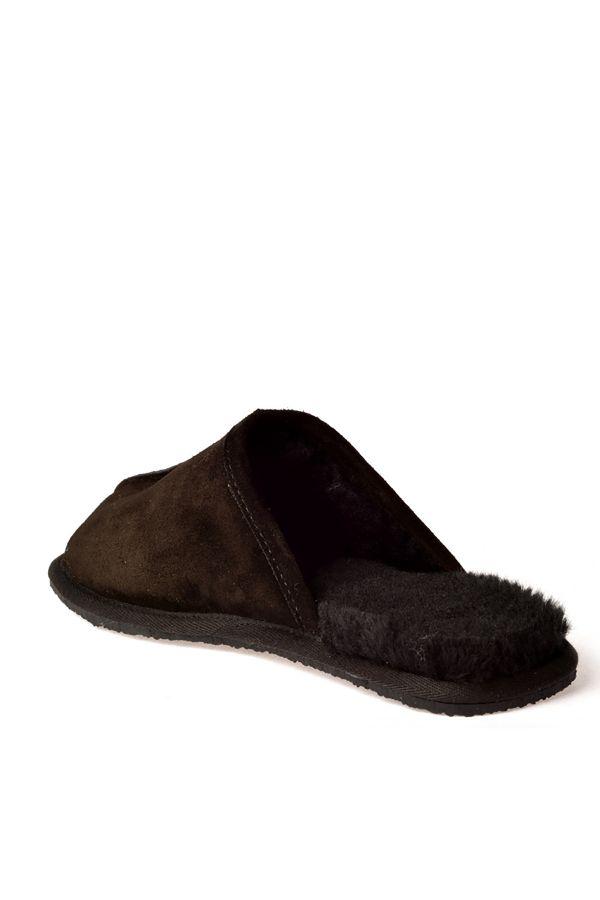 Pegia Men House Slippers From Genuine Fur Black