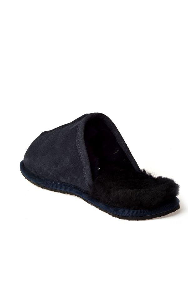 Pegia Men House Slippers From Genuine Fur Navy blue