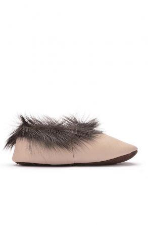 Pegia Женская Домашняя Обувь Из Натуральной Кожи И Меха С Меховой Верхушкой Бежевый