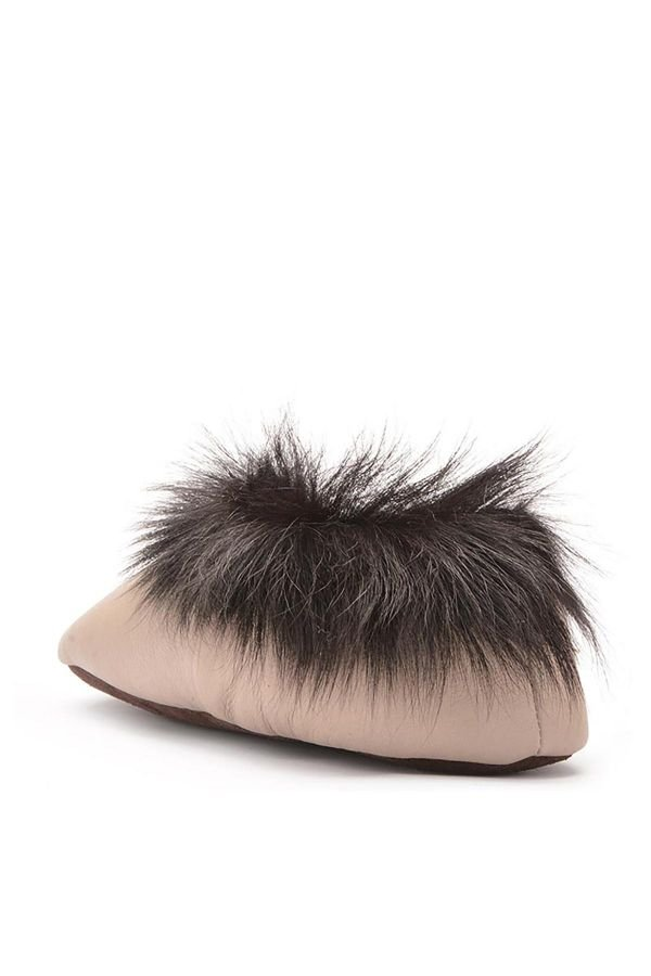 Pegia Women House-shoes From Genuine Fur With Fur Top Beige