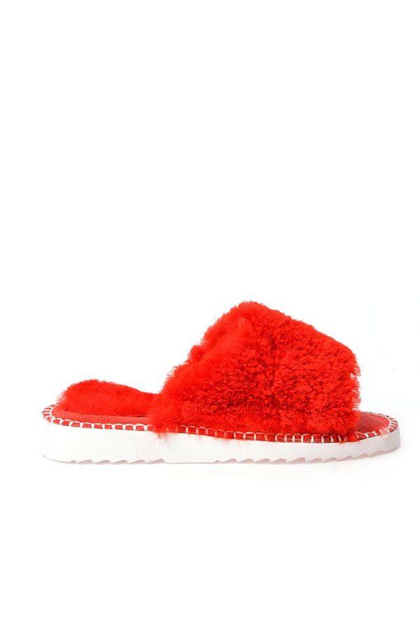 Pegia Port Pelle Women Slippers From Genuine Fur Red