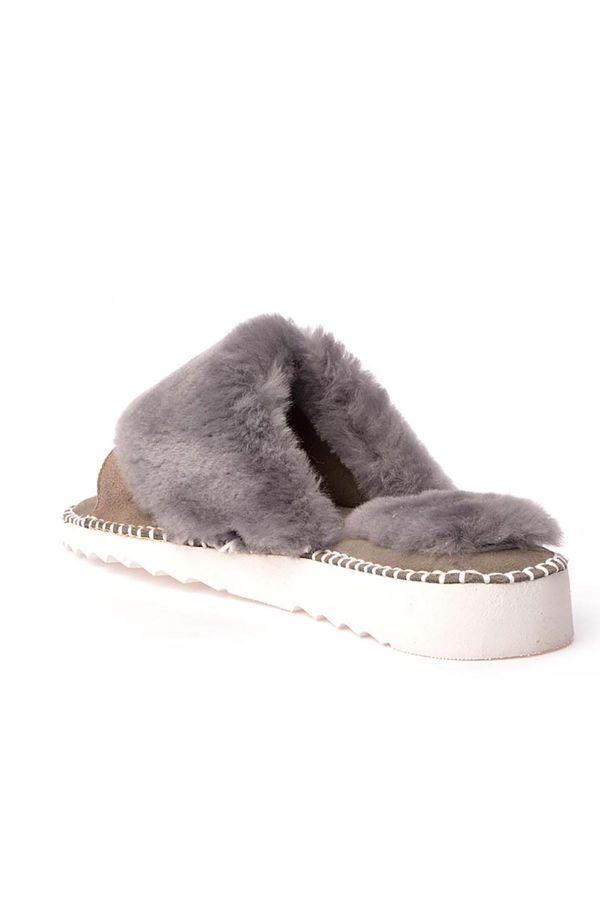 Pegia Port Pelle Women Slippers From Genuine Fur Gray