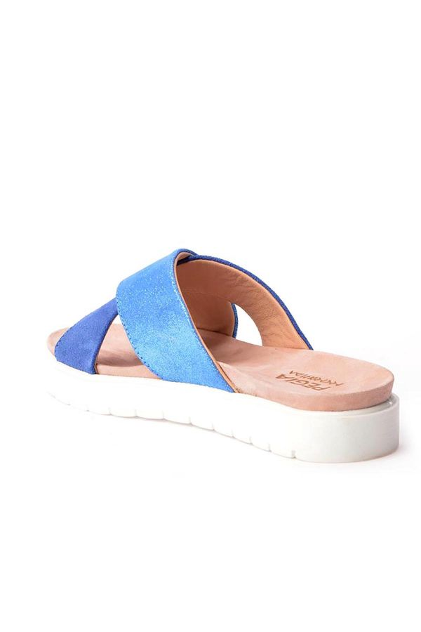 Pegia La Ferme Women Slippers From Genuine Leather Blue