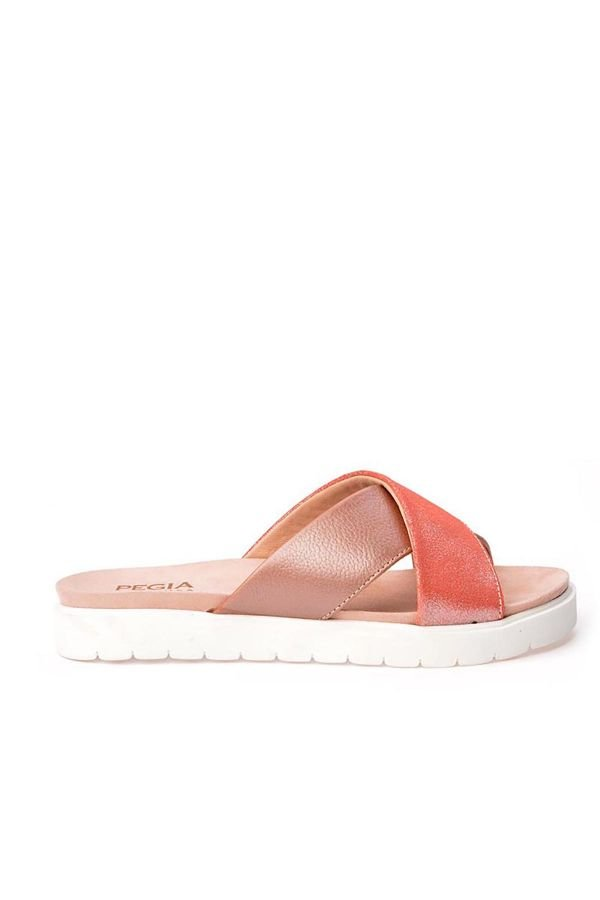 Pegia La Ferme Women Slippers From Genuine Leather Pink