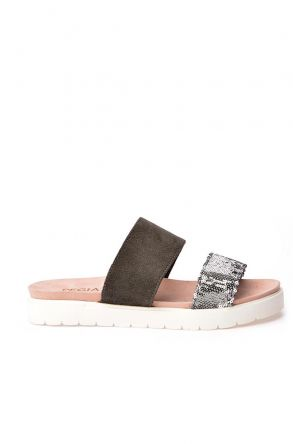 Pegia La Fource Women Slippers From Genuine Leather Gray