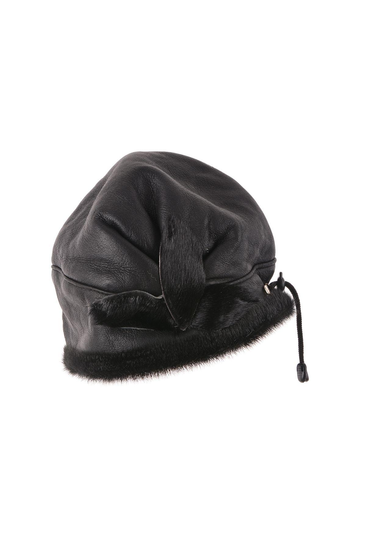 Pegia Шапка-Ушанка Из Натуральной Кожи И Меха С Меховыми Вставками В Форме Цветка Черный