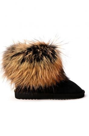 Pegia Women Uggs With Genuine Racoon Fur Black