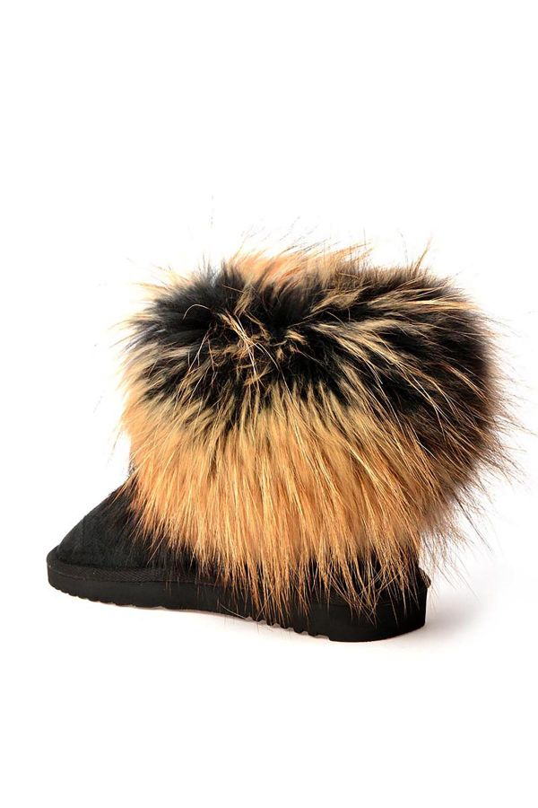 Pegia Women Uggs With Genuine Racoon Fur Black