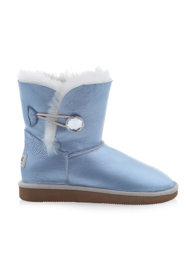 Pegia Women Uggs From Genuine Fur Decorated With Snap Blue