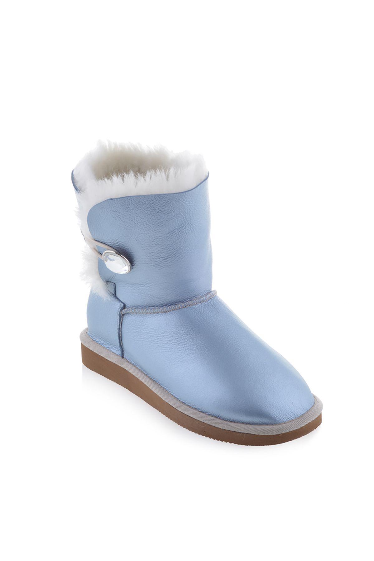 Pegia Hakiki Kürk Taş Düğmeli Bayan Bot Mavi