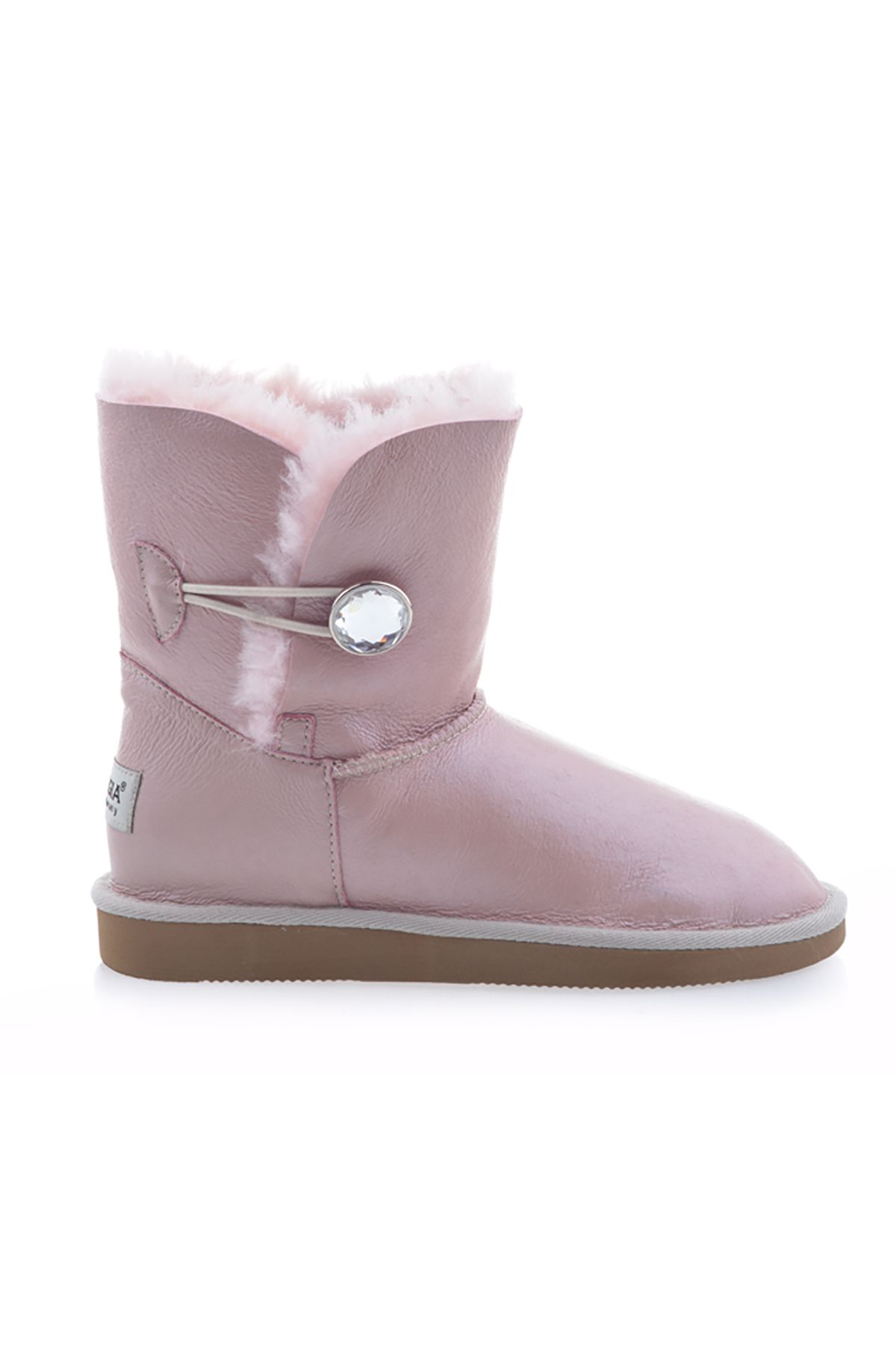 Pegia Women Uggs From Genuine Fur Decorated With Snap Powdery