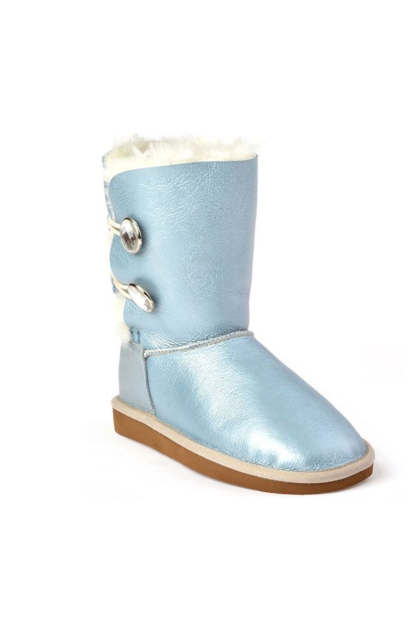 Pegia Women Uggs From Genuine Fur Decorated With Snaps Blue