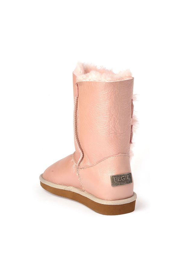 Pegia Women Uggs From Genuine Fur Decorated With Snaps Powdery