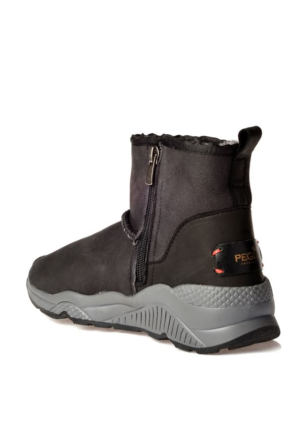 Pegia Women Boots From Genuine Fur With Side Zip Dark Gray