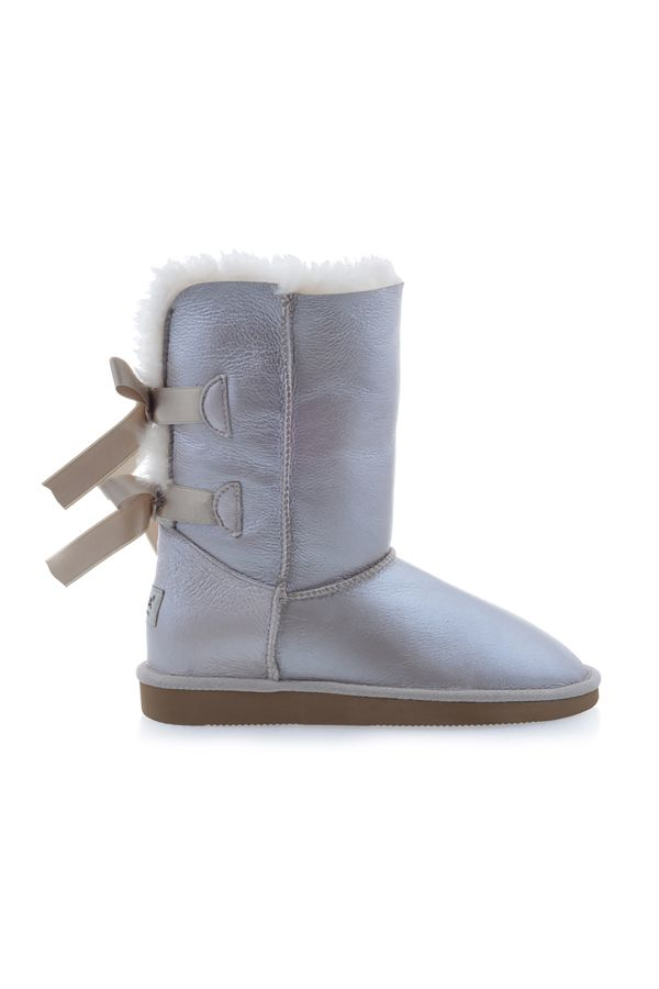 Pegia Women Uggs From Genuine Fur Decorated With Bows Blue