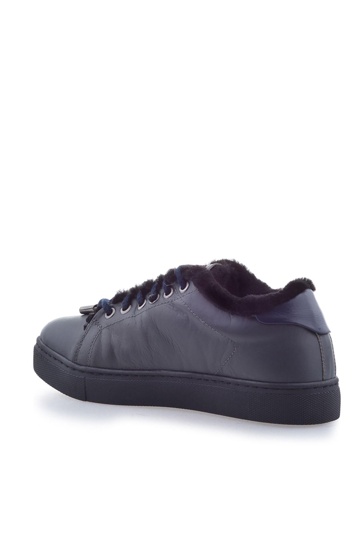 Pegia Hakiki Deri Kışlık Bayan Sneaker Füme
