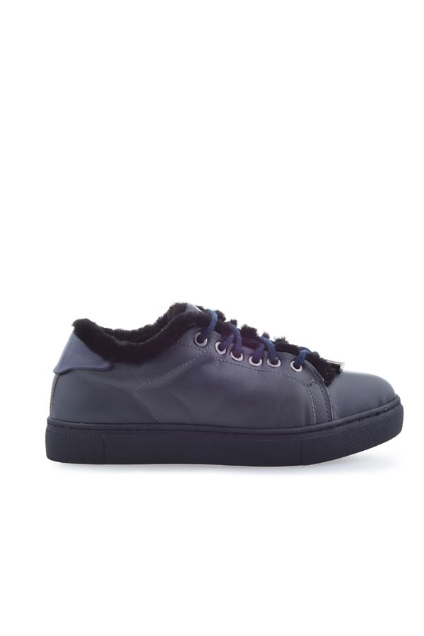 Pegia Women Sneakers From Genuine Leather And Fur Dark Gray