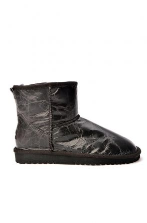 Cool Moon Women Ugg Style Boots From Vintage Leather Black