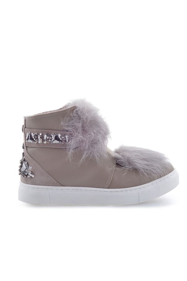 Pegia Women Boots From Natural Leather And Toscana Fur Beige